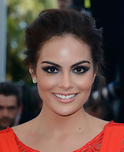 Ximena Navarrete chose this slightly messy pinned updo for her elegant red carpet look.