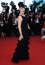 Rossy De Palma chose a black tiered gown for a flirty but classic red carpet look.