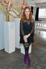 Brittany Snow attended the alice McCall fashion show looking sweet in a black Swiss-dot mini dress.