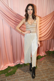 Louise Roe paired her cami with loose gold capris, also by Alice + Olivia.