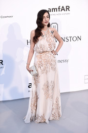 Eleonora Carisi chose a nude branch-print one-shoulder gown by Valentino for the amfAR Cinema Against AIDS Gala.