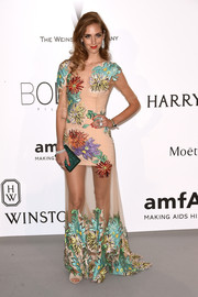 Chiara Ferragni bloomed in a sheer floral-embroidered gown by Blumarine during the amfAR Cinema Against AIDS Gala.