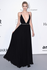 Lily Donaldson looked like a princess gone wild in her plunging black Saint Laurent gown during the amfAR Cinema Against AIDS Gala.
