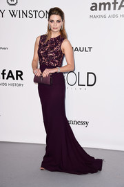 Mischa Barton was classic and chic in an aubergine Zuhair Murad column dress with a beaded bodice at the amfAR Cinema Against AIDS Gala.