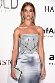 Rosie Huntington-Whiteley matched a Bulgari box clutch with a Galvan strapless gown for the amfAR Cinema Against AIDS Gala.