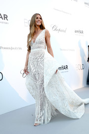 Heidi Klum brought some bridal glamour to the amfAR Gala Cannes 2018 with this embroidered white gown by Zuhair Murad.