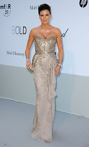 Claudia looked every bit the bombshell in this gorgeous Roberto Cavalli embellished gown.