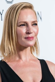 Uma Thurman sported a textured lob at the amfAR Hong Kong Gala.