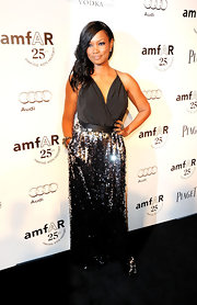 Garcelle Beauvais was a beauty in a shimmering evening dress saturated with sequins at the amfAR Inspiration Gala.