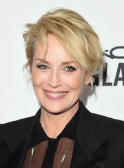 Sharon Stone made mussed-up hair look oh-so-chic when she attended the amfAR Inspiration Gala.