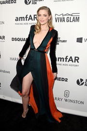 Jaime King paraded her cleavage and legs in this super-sultry color-block gown by Balmain at the amfAR Inspiration Gala.