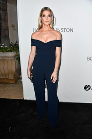 Ashley Greene looked simply sophisticated in a navy off-the-shoulder jumpsuit by Theia at the amfAR Gala in Los Angeles.