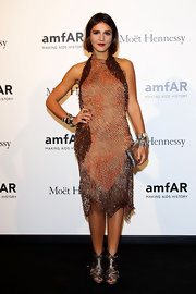 Margherita Missoni paired silver strappy sandals with a beaded dress for the 2012 amfAR Milano event.