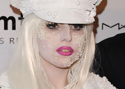 Lady Gaga amped up her pearly look with lengthy lashes.