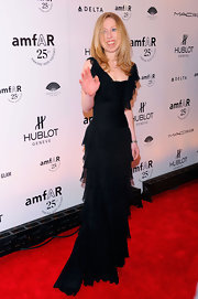 Chelsea Clinton's tiered black evening gown was soft, structured and romantic all at the same time.