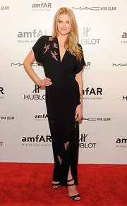 Lily Donaldson looked lovely in a bird embroidered dress for the amfAR NY gala.