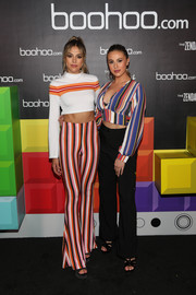 Sistine Rose Stallone gave off '70s vibes with her striped bell-bottoms (also from the Zendaya Edit).