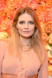 Mischa Barton wore her hair loose with a center part when she attended the boohoo.com LA pop-up store opening.