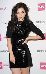 Charlie XCX went for edgy sophistication in a leather-panel LBD during the Very.co.uk launch party.