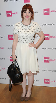 Alice Levine kept it simple in a white dress with an embroidered bodice when she attended the Very.co.uk launch party.