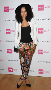 Jade Ewen looked funky at the Very.co.uk launch party with her blazer and print pants combo.