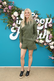 Gwyneth Paltrow was casual and cool in an army-green romper by G. Label at the In Goop Health Summit Los Angeles 2019.