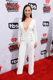 Cheryl Burke took a daring plunge in this deep-V, nautical-inspired jumpsuit at the iHeartRadio Music Awards.