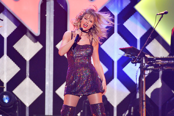 More Pics of Taylor Swift Sequin Dress (4 of 21) - Dresses & Skirts Lookbook - StyleBistro [iheartradio,capital one,taylor swift,performance,music artist,entertainment,singer,singing,performing arts,purple,stage,pop music,violet,z100 jingle ball,new york city]