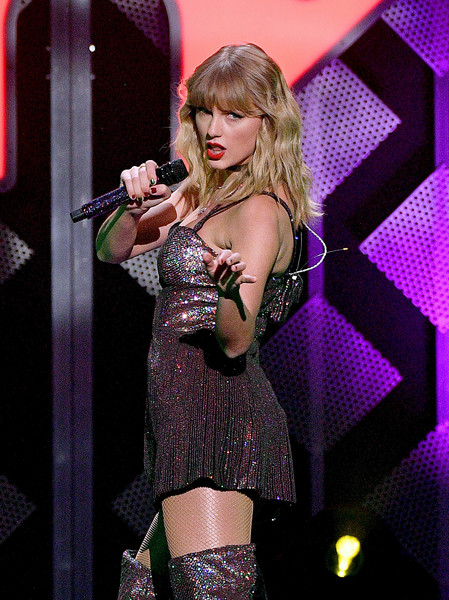 More Pics of Taylor Swift Sequin Dress (3 of 21) - Dresses & Skirts Lookbook - StyleBistro [iheartradio,capital one,taylor swift,performance,entertainment,singing,singer,music artist,performing arts,thigh,leg,event,blond,z100 jingle ball,new york city]