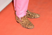 Cameron Silver showed his edgy side with these leopard print slippers with gold studs.