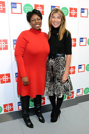 A black-and-white print skirt added feminine appeal to Nina Garcia's look during JCPenney's Holiday Giving Tour kickoff.