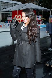 La La Anthony bundled up in style with a black wool coat during the jcpenney Holiday Giving Tour kickoff.