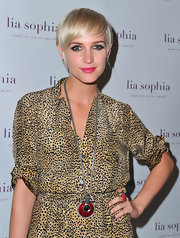 Beveled Necklace with Ashlee Simpson donned an animal print ensemble for the Lia Sophia bash in Hollywood. She finished off the fierce look with a statement necklace by the designer that featured black diamond crystals and red enamel.