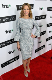 Andrea Savage paired her dress with simple gray suede pumps by Casadei.