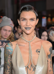 For her beauty look, Ruby Rose went futuristic with some silver lipstick.