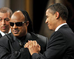 US Pres and First Lady Obama Honor US Musician Stevie Wonder