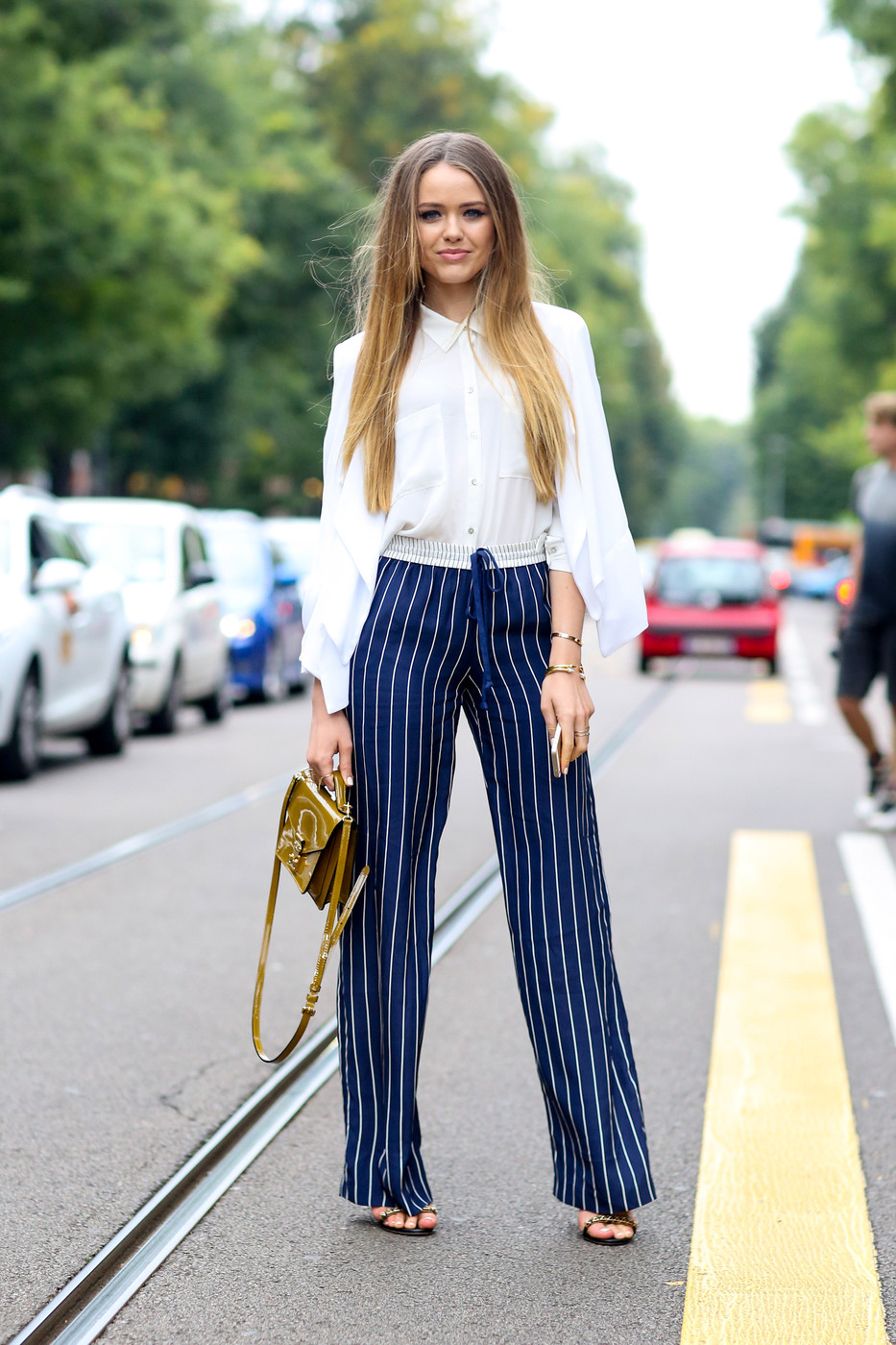 Pinstripe Pants Best Street Style At Milan Fashion Week Spring 2015 Stylebistro