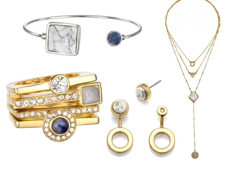 DNxCapwell Silver Shape of Things Bracelet, $42; Gold Shape Shifter Drop Necklace, $54; Gold Inner Circle Ear Jackets, $36; and Gold, White Howlite and Lapis Mixed Emotions Stacked Ring, $42; all at capwell.co