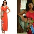 Gina Rodriguez's Orange Maxi Dress with Side Floral Pattern on 'Jane the Virgin'