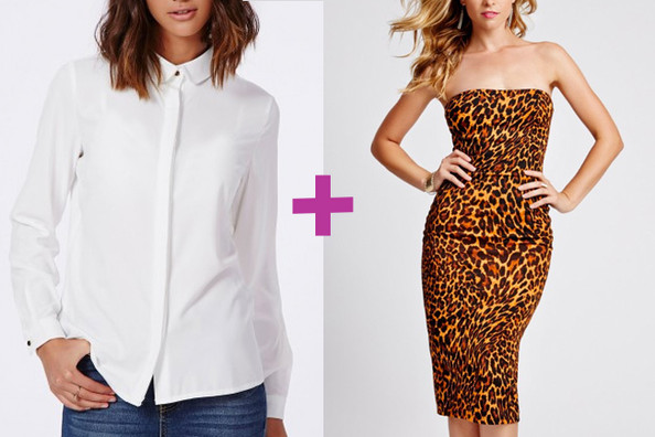 anelle Cropped Shirt and Guess Strapless Leopard-Print Midi Dress
