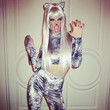 Alessandra Ambrosio as a Silver Cat