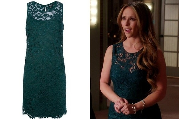 Jennifer Love Hewitt's Green Lace Sheath Dress on 'The Client List'
