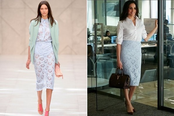 Meghan Markle's Baby Blue Lace Pencil Skirt (and White Button-Down) on 'Suits'