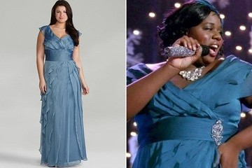 Alex Newell's Mallard Blue Evening Gown