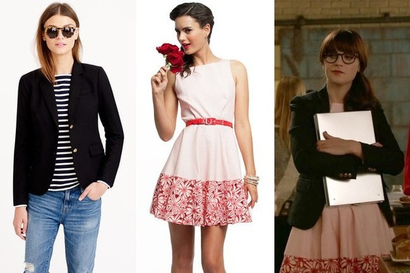 Zooey Deschanel's Black Blazer and Pink Belted Dress with Floral Trim on 'New Girl'