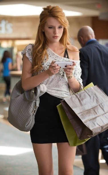Bella Thorne on her phone in The Duff. (Source: Guy D'Alema/Granville Pictures Inc.)