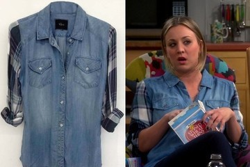 Kaley Cuoco's Denim Blouse with Plaid Sleeves on 'The Big Bang Theory'