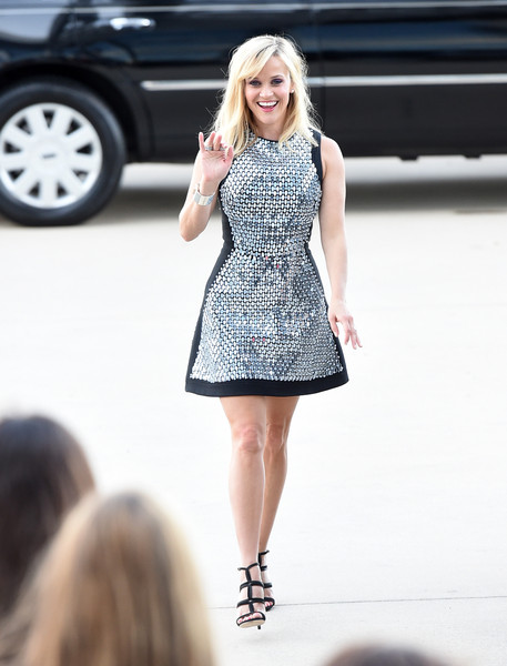 Reese Witherspoon in a Metallic Mini in 2015