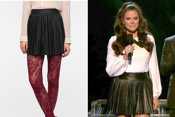 Khloe Kardashian's Pleated Leather Skirt on 'The X Factor'