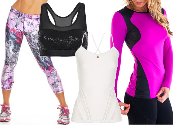Zara Terez Purple Crushed Makeup Performance Capri Leggings, $75; Pilot Athletic Aviatrix Leopard Mesh Crop, $70; L'Urv Morning Bliss Tank in White, $69; Alii Sport Long Sleeve with Gloss, $75